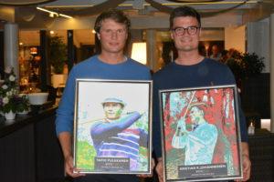 Tapio Pulkkanen (tv.) og Kristian Krogh Johannessen (th.) snuppede Player of the Year og Rookie of the Year 2015, da ECCO Tour Awards løb af stablen onsdag aften i Himmerland Golf og Spa Resort